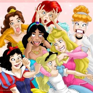 Princesas Disney fazendo careta