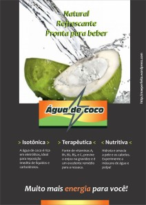 propaganda de água de coco. publicidade de alimento saudável