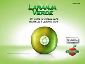 anúncio publicitário laranja verde Hortifruti