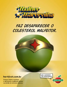 Anúncio publicitário Mulher Marervilha Hortifruti