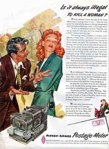 Anúncio da máquina de franquia postal Pitney Bowes. Homem tenta convencer mulher a usar máquina.
