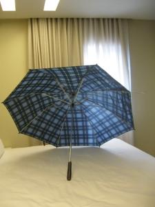 guarda-chuva azul xadrez