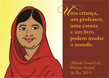 desenho e citação de Malala Yousafzai