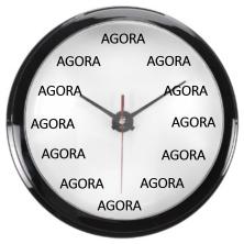 Relógio com palavra AGORA no lugar dos números