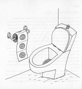 papel higiênico triste e vaso sanitário