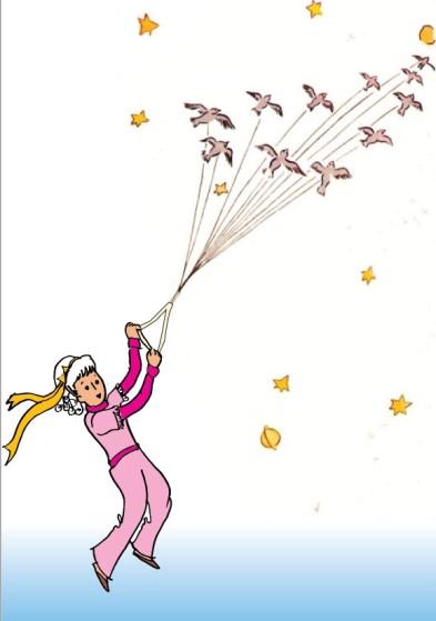 menina voando com os pássaros